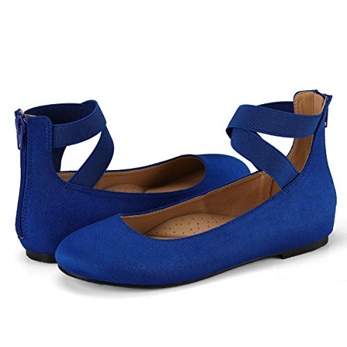 (VILIYA Women's Ballet Flats - Elastic Crossing Straps Round Toe Slip-on Shoes Blue 10)