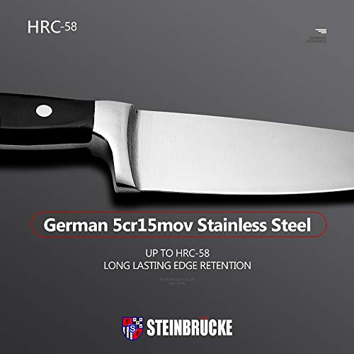 STEINBRÜCKE Chef Knife, 6-Inch Kitchen chef Knives Sharp Chef\'s Knife, 5cr15mov German Stainless Steel, Full Tang, Cook\'s Knife for Home Kitchen Restaurant