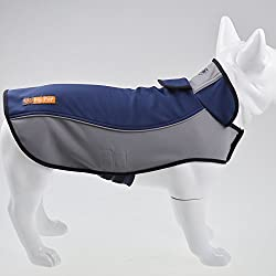 Fosinz Outdoor Waterproof Dog Jacket Dog Coat with Reflective Stripe (S, Blue)