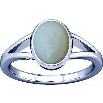 - Ramneek jewels Divya Shakti 12.25-12.50 Carats White Opal Silver Ring 100% ORIGINAL NATURAL GEMSTONE AAA QUALITY