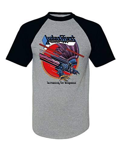 - EmoBug Judas Priest Screaming for Vengeance SFV Logo Baseball Tee Raglan Short Sleeve T Shirt Small Heather Gray/Black