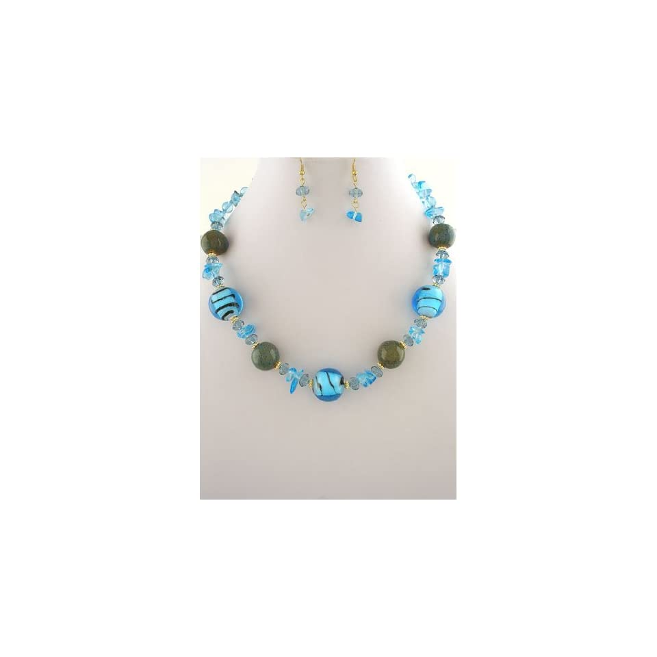 Fashion Jewelry ~ Blue Murano Glass Beads Necklace and Earrings Set (Style#FNE1748 GDBL)
