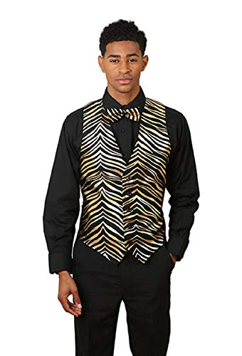Men's Black & Gold Zebra Print Vest and Bow Tie Set Medium