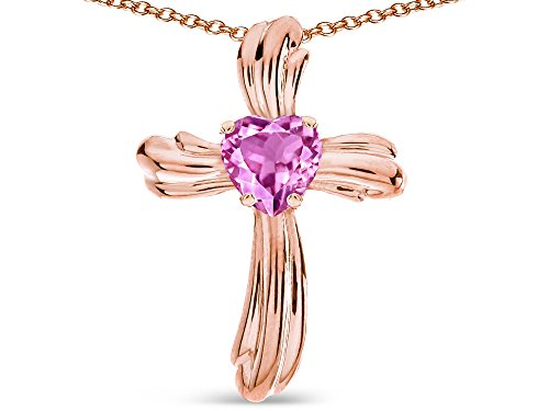 Star K Heart Shape 6mm Created Pink Sapphire Ribbed Cross Of Love Pendant Necklace 14k Rose Gold