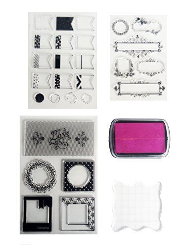 (Clear Stamps Starter Set by Tanpopo Art - Frames Collection| 3 Frames Clear Stamps Sheet, Stamp Ink, Acrylic Clear Stamp Block | Suitable as Planner Stamps, Stamping Tool, Card Making,)