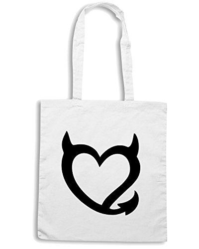 T-Shirtshock - Bolsa para la compra FUN1193 devil heart diecut decal 46172 Blanco