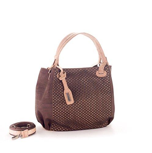 Artelusa Cork Top Handle Handbag Chocolate/Natural Adjust/Remov Strap Eco-Friendly Handmade in Portugal