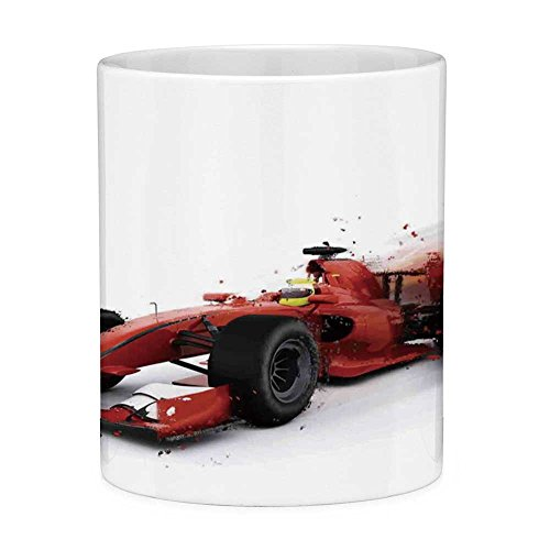 Funny Coffee Mug with Quote Cars 11 Ounces Funny Coffee Mug Generic Formula 1 Racing Car Illustration with Special Effect Turbo Motion Auto Print Red Black