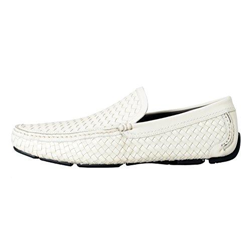 Salvatore Ferragamo Pacifico Mens Mocassini In Pelle Bianca Mocassini Casual Shoes Us 9ee It 8ee Eu 42ee