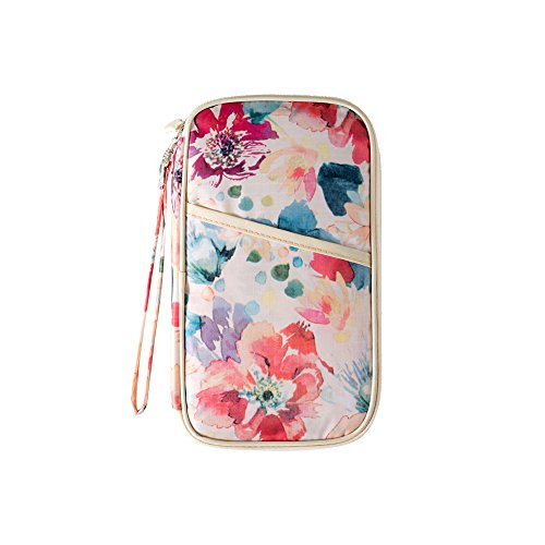 Passport Holder Oil Painting Style, Yeiotsy Flowers Spring Travel Document Holder Passport Cover with Hand Strap (Spring Daytime)