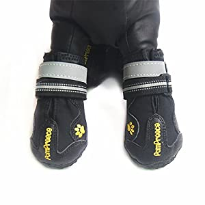 Dog Boots, Kromi Waterproof Paw Protector Pet Shoes for Small Medium Large Dogs 4pcs (Black, Size 8)