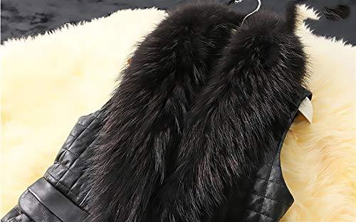 Monocromo Collo Slim Nero Plus Autunno Fit Donna Casual Invernali Eleganti Cappotto Pelle Prodotto Fashion Outerwear Giacche Casuale Pelliccia Con Gilet Battercake Smanicato Vintage Donne qwg0aa