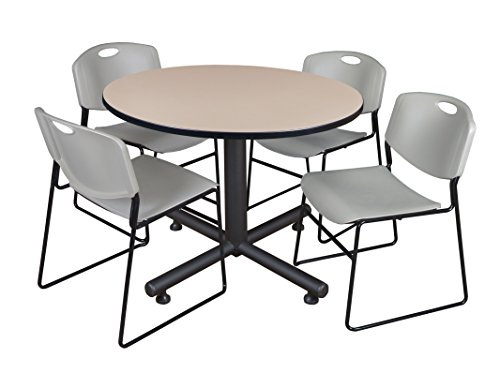 Regency Kobe 48-Inch Round Breakroom Table, Beige, and 4 Zeng Stack Chairs, Grey (Regency Chair Round)