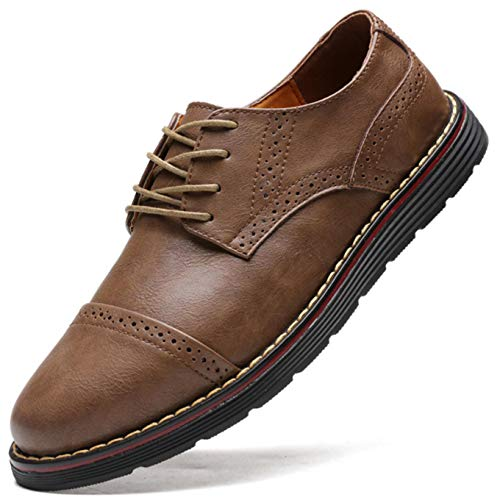 Men`s Genuine Leather Oxford Formal Dress Shoes Lace-up Loafers Wingtip Casual Business Shoes Brogues Oxford