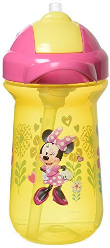 The First Years Baby Minnie Mouse Flip Top Straw Cup, 10 oz, 1 (First Years Minnie Mouse)