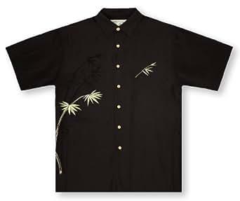 bamboo cay bamboo black hawaiian shirt at amazon men s