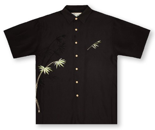 Bamboo Cay Bamboo-Black Hawaiian Shirt,Large