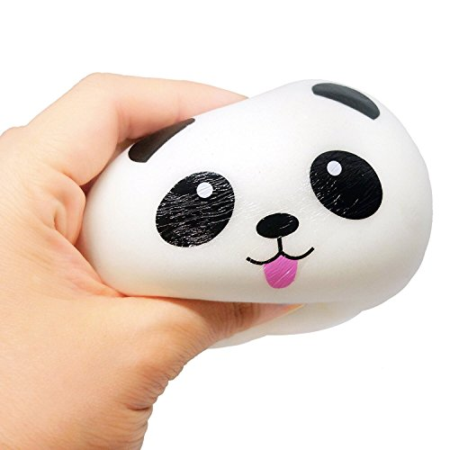 TOODAY Kawaii Jumbo Slow Rising Squishies Cream Scented Squeeze Kid Toy Phone Charm Gift for Stress Relief and Time Killing (Red Bow Panda) Cell Phone Antenna Charm Jewelry