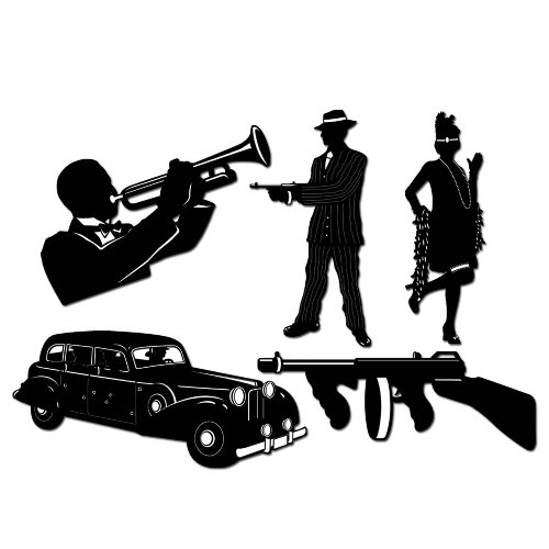 Beistle 57485 5-Pack Gangster Silhouettes, 20-Inch -