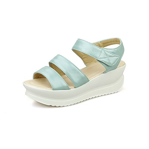 Amoonyfashion Mujeres Solid Pu Kitten Heels Open Toe Lace Up Sandalias Azul