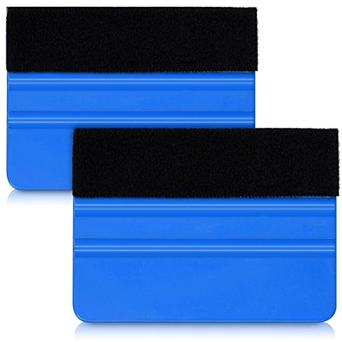 kwmobile Plastic Felt Edge Squeegee - Car Squeegee Decal Soft Vinyl Wrap Window Tint Application Tool - 4 Inch Soft Felt Edge Scraper - 2 Pieces
