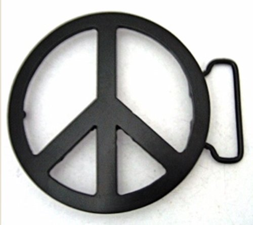 - Peace Sign Die Cut Black Finishing Belt Buckle.