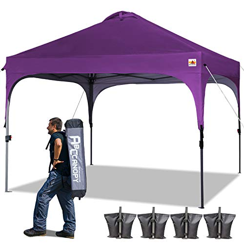 ABCCANOPY Canopy Tent Pop-Up Canopies Compact Tents Instant Shelter Portable Shade Outdoor Canopy Popup Tents Outdoor with Wheeled Carry Bag Bonus 4 Weight Bags, 4 x Ropes& 4 x Stakes, Purple