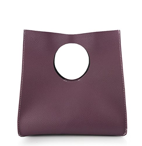 Hoxis Vintage Minimalist Style Soft Pu Leather Handbag Clutch Small Tote (violet) by Hoxis