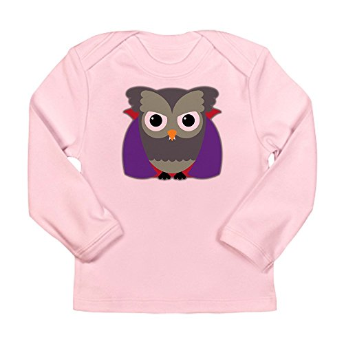 Truly Teague Long Sleeve Infant T-Shirt Spooky Little Owl Vampire Monster - Petal Pink, 18 To 24 Months -