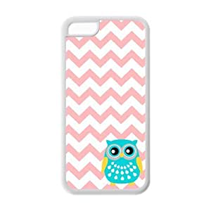 Owl Coral Chevron iPhone 5c Case Fits iPhone 5c by Maris's Diary