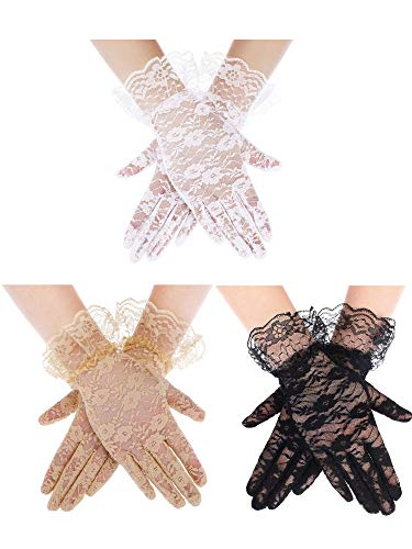 (3 Pairs Women Lace Gloves Floral Short Lace Gloves Sun Protection Lace Gloves Dressy Short Gloves for Wedding Dinner Parties, 3)