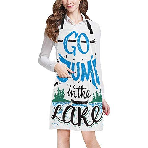 (InterestPrint Funny Summer Quote Go Jump in The Lake Canoe Fishing Theme Unisex Adjustable Bib Apron Pockets Women Men Girls Chef Cooking Baking Gardening Crafting, Large Size)