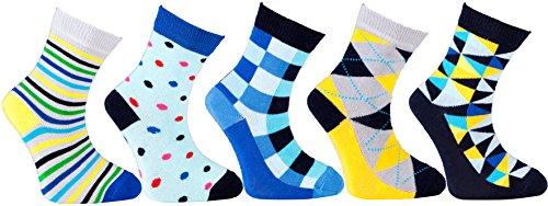 Socks n Socks-Boy's 5-pair Luxury Fun Cool Cotton Colorful Mix Socks Gift Box (Colorful Socks Boys)