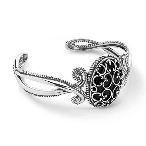Carolyn Pollack Sterling Silver and Black Agate Gemstone Overlay Scroll Filigree Bracelet Size Large ()