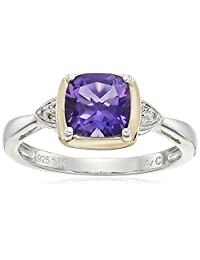 S&G Sterling Silver and 14k Yellow Gold Cushion Amethyst with Diamond Accent Ring, Size 7