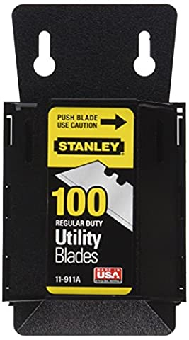 Stanley 11-911A Regular Duty Utility Blades with Dispenser, Pack of 100(Pack of 100)
