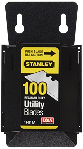 Stanley 11-911A Regular Duty Utility Blades with Dispenser, Pack of 100(Pack of 100) (Stanley Knife Blades)