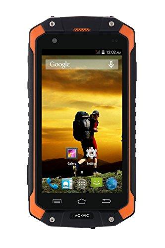 Aokvic ® V9 4.5 Zoll IP68 Wasserdicht Staubdicht Stoßfest Entriegelt Smartphone Android 4.4 1.3GHz RAM 512 ROM 4G WIFI 3G GSM/WCDMA Dual Sim Ohne Vertrag Outdoor Entsperrt Handy (Orange)