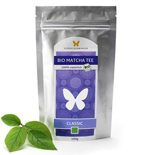 100g Bio-Matcha-Tee CLASSIC von FLÜGELSCHWINGER, 100% Matcha ohne Zusätze, nach traditioneller Art in Steinmühlen gemahlen, Matcha, Pulver, CN-BIO-140 (100g)