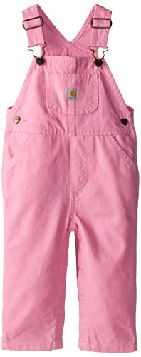 Baby Girl Overalls - Carhartt Baby Girls' Washed Microsanded Canvas Bib Overall, Rosebloom, 6 Months