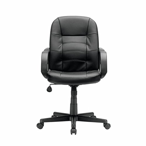 Sauder gruga leather office chair in black home and for Home office chairs leather