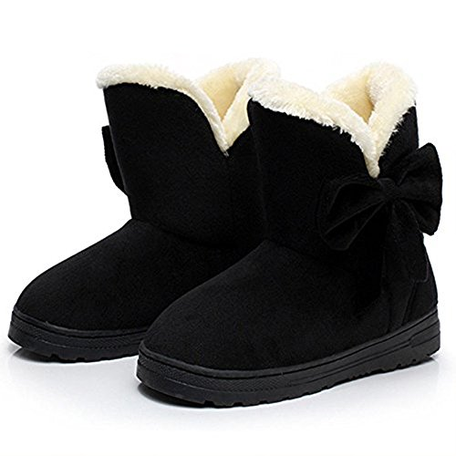 Bow Ankle Boot (YING LAN Women's Daily Shoes Comfortable Bow Round Toe Flat Ankle High Eskimo Winter Warm Fur Snow Boots Black(A Pair Of Socks For Free))