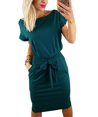 PRETTYGARDEN Women's 2018 Casual Short Sleeve Party Bodycon Sheath Belted Dress with Pockets (Dark Green, ()