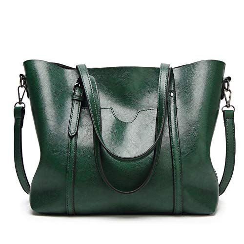 (Bag Oil Wax Leather Handbags Luxury Lady Hand Bags With Purse Pocket Messenger Bag Big Tote Sac Bols-In Top,Green)
