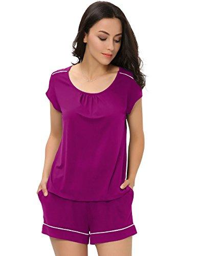 GYS Women's Scoop Neck Short Pajamas (XL,Burgundy Purple)