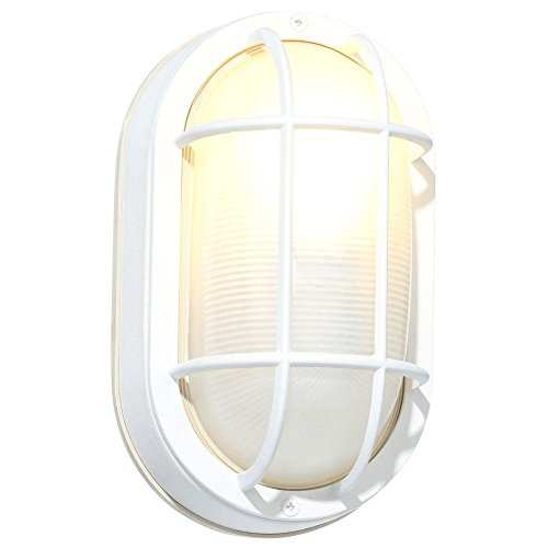 - Hampton Bay White Cast Aluminum 8.5 In. Oval Bulkhead With Bulb Included HB8822P-06