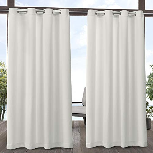 Exclusive Home Curtains Delano Heavyweight Textured Indoor/Outdoor Grommet Top Curtain Panel Pair, 54x84, Vanilla