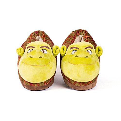 Sleeper'z Hausschuhe Shrek - Rutschfeste Warme Plüsch Tierhausschuhe