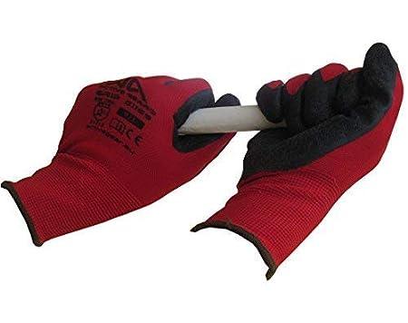 Logistica Rosso Manutenzione e Giardinaggio 8 Paia. Taglia 9 // L G1169x8 Guanti per la Sicurezza sul Lavoro per Protezione e Potenza di Presa Estrema in Edilizia per Donne e Uomini