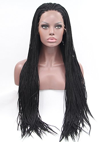 Fennell Long Black Synthetic Hair Dreads African Wig for Braiding Synthetic Front Lace Wig -